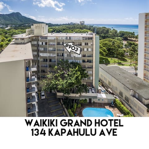 located on the quiet back side of Waikiki Grand Hotel just steps to the sand!