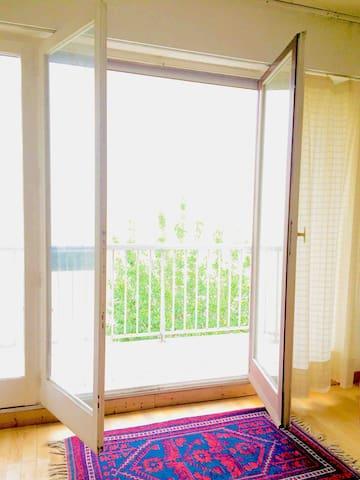 Salon et sa luminosité,vous bénéficiez d'un balcon traversant sur quasi toute la surface de l'appartement en plus du votre,privé
