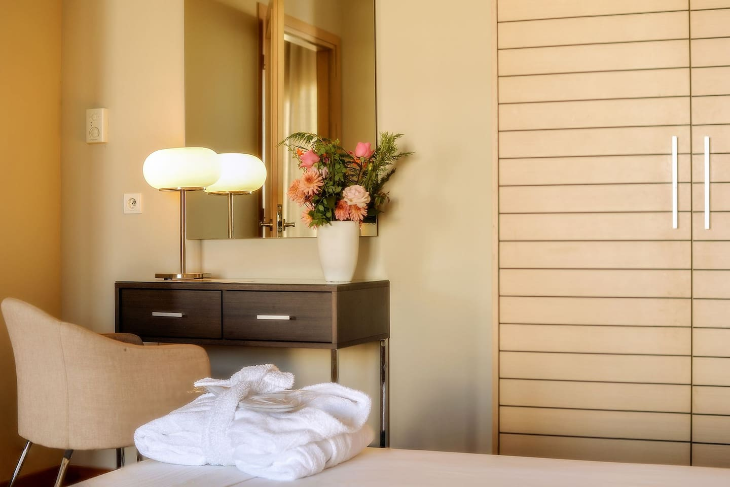 The Single Room City View enjoys magnificent view of the city of Thessaloniki and a private balcony. Ideal for the solo business or leisure traveler in downtown Thessaloniki thats desires direct access to the city.