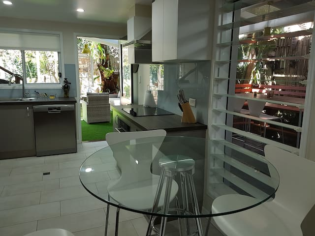 Kitchen looking out to common area