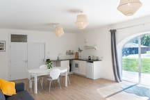 The kitchen and dining area of the open-plan living space