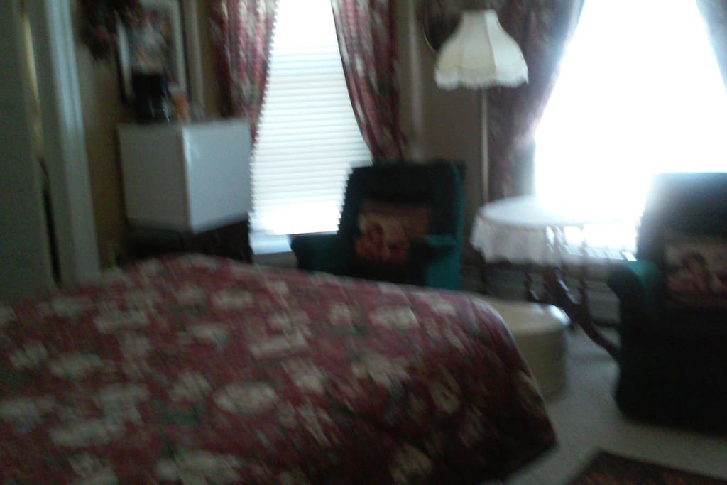 Queen bed, whirlpool bath with shower, TV, DVD , coffee, refrigerator, hair dryer. full breakfast