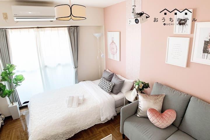 SC22 淡いピンク調のガーリーなお部屋♪平和公園まで900m!プロジェクター完備☆WIFI無料◎
