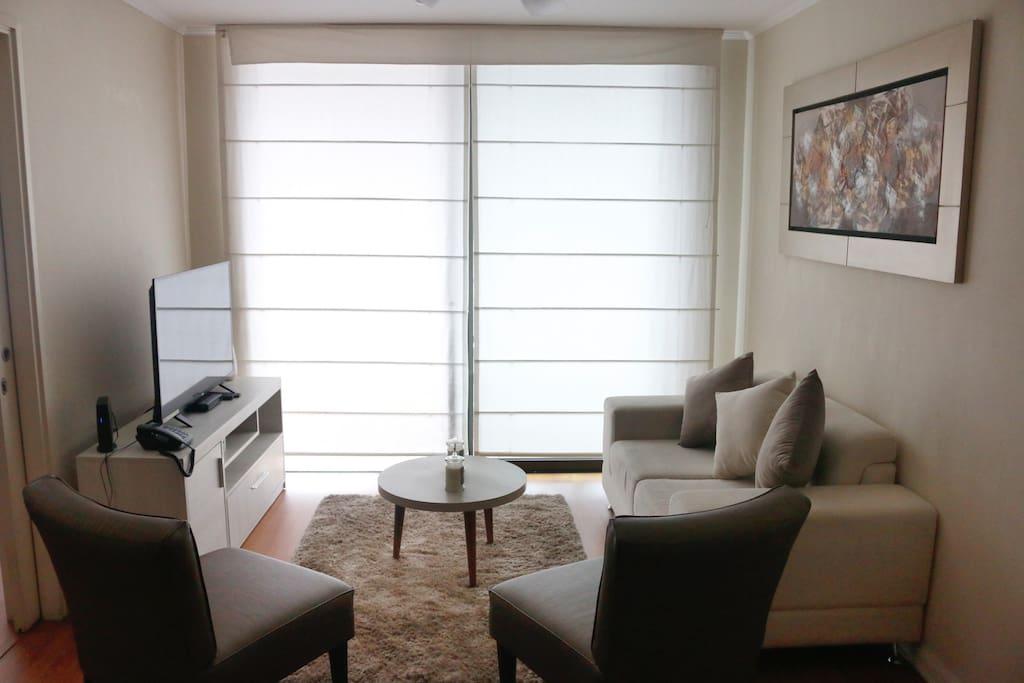 Sala con Tv y cable