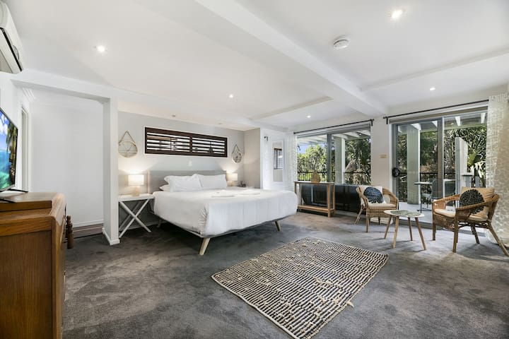 Master Bedroom with ensuite + aircon + tv + private balcony + lower level balcony