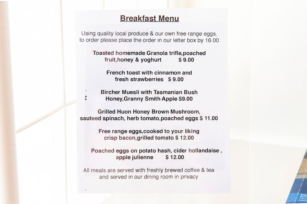 Our Breakfast Menu ranging from $9-12, including coffee & tea - using our own fresh free range eggs -