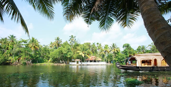 Lovely Island stay in punnamada lake Double Bed