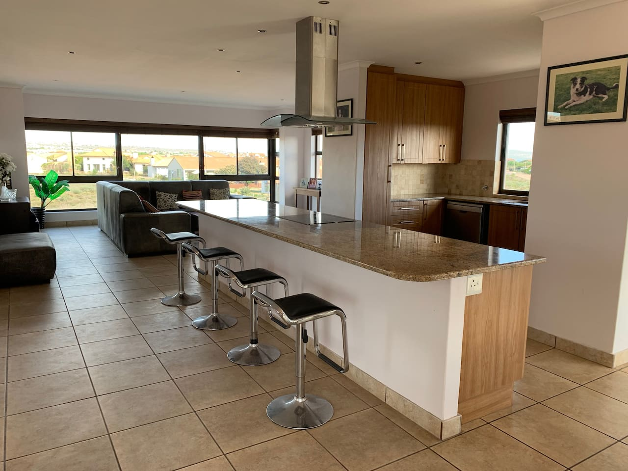 Open plan kitchen and Living area with lovely views