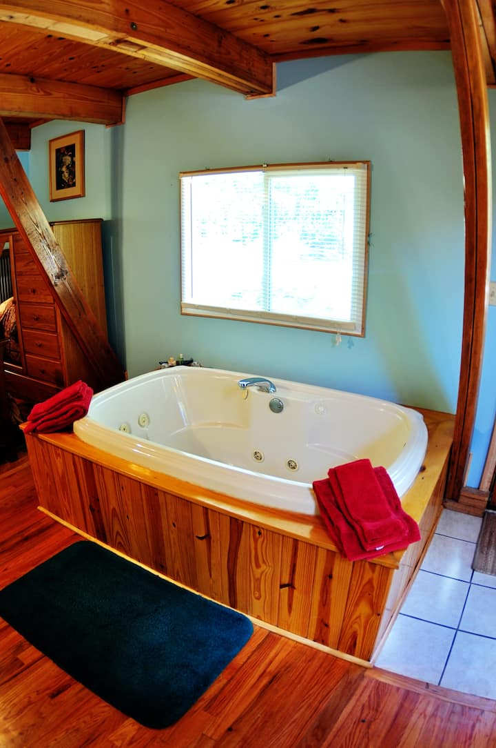 Kingfisher #1, A-Frame Cabin, Studio Queen & Loft Queen, Kitchen, Large Spa Tub, Deck, Pond access