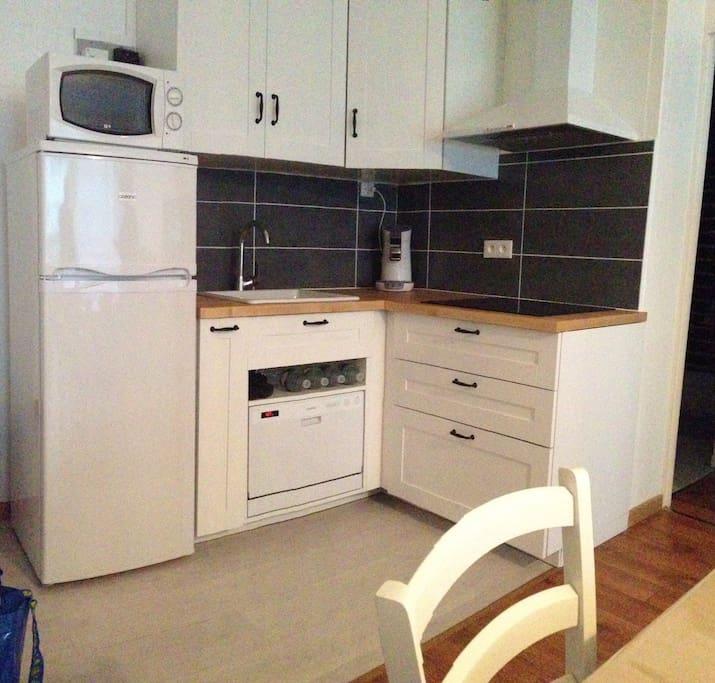 Cuisine équipée, plaque de cuisson, micro onde, four, lave vaisselle, cafetière et frigidaire-congélateur.