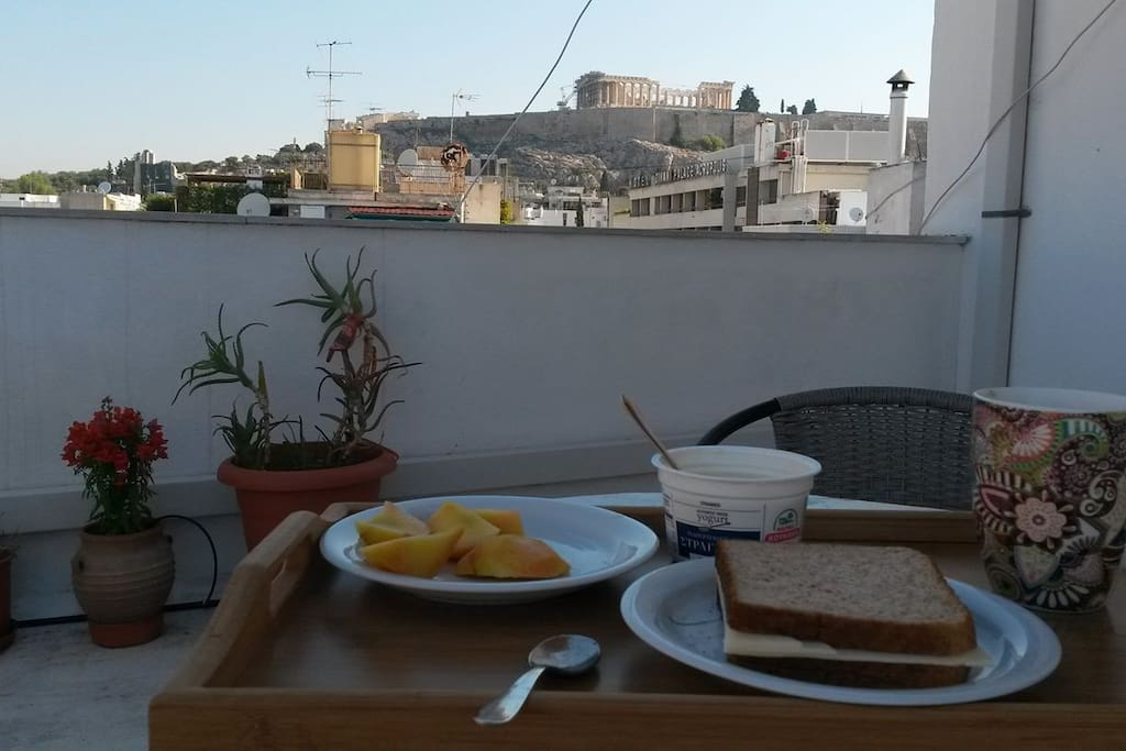 Breakfast in Terrace with full Acropolis view.