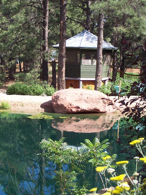 Cabana viewed from the pond