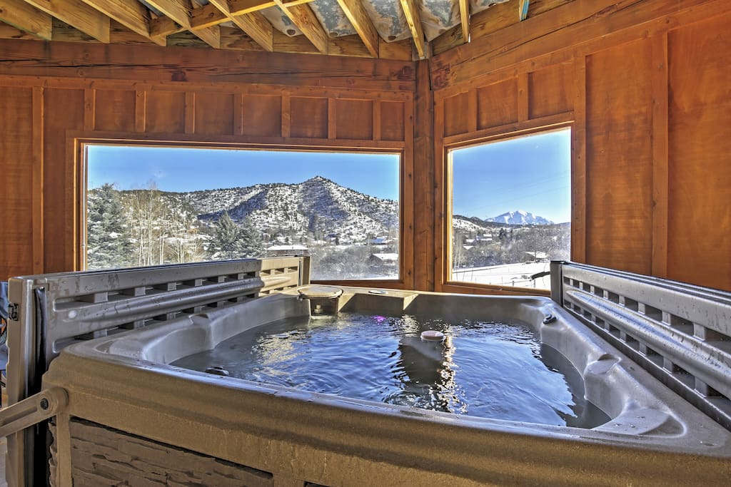 Soak your cares away in the home's private enclosed hot tub!
