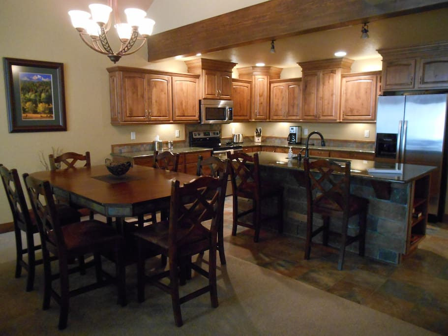 Spacious fully equipped kitchen.