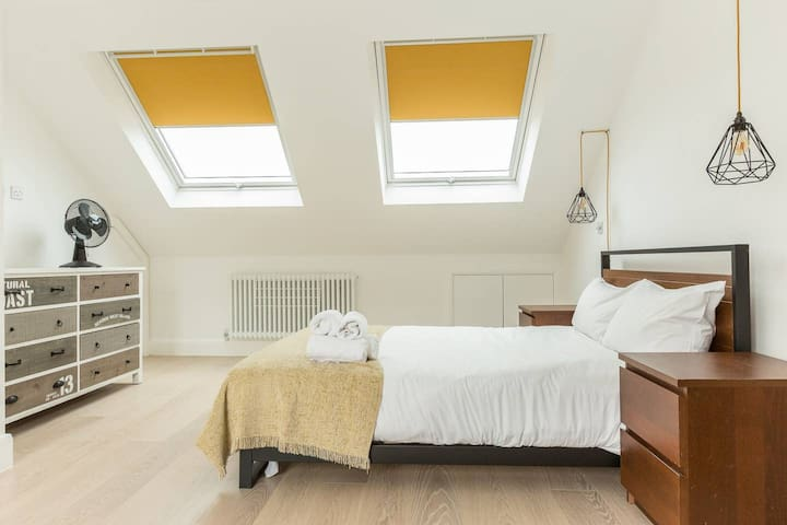 Twin Velux window with blackout blinds