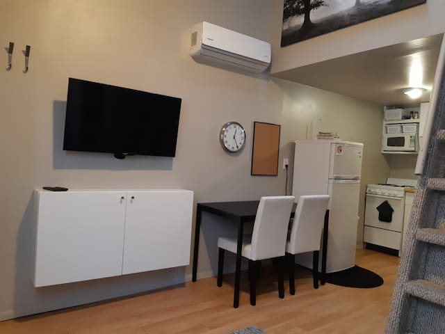 """Downstairs of Studio.  40"""" Flat screen TV with Roku.  High speed wireless included."""
