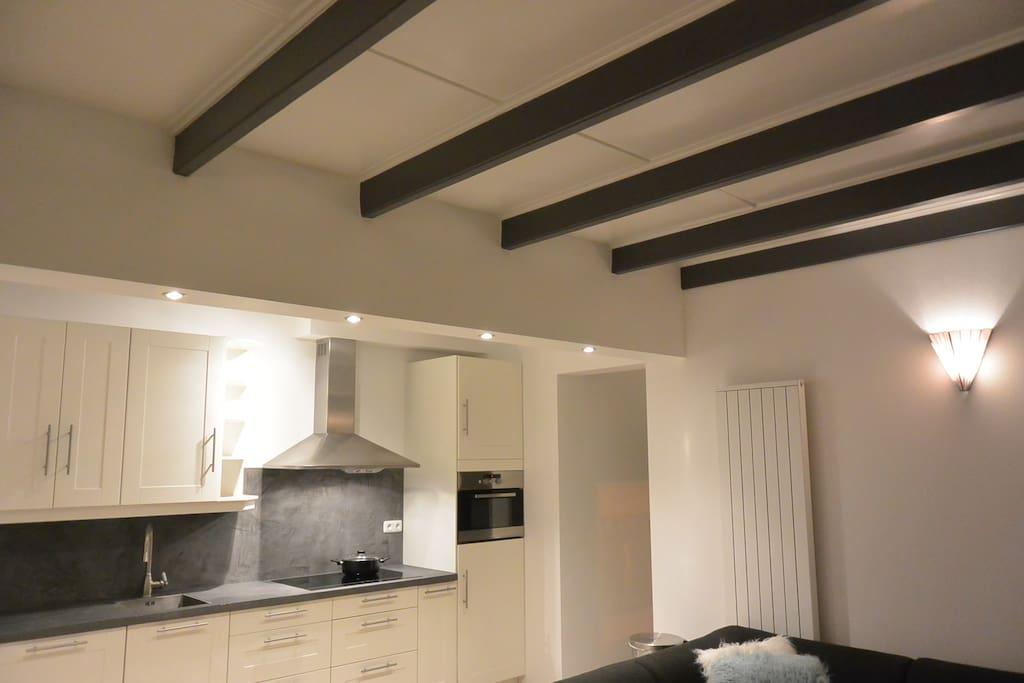Open keuken voorzien was combi-oven en inductie kookplaat