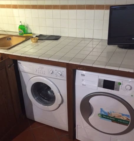 Lovenest  apartment has a washing machine and dryer