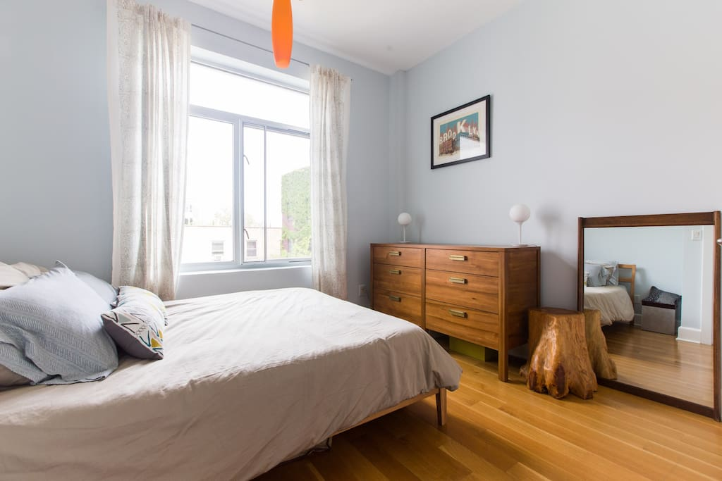 Bright, airy room with a view of the inner courtyards of Brooklyn.