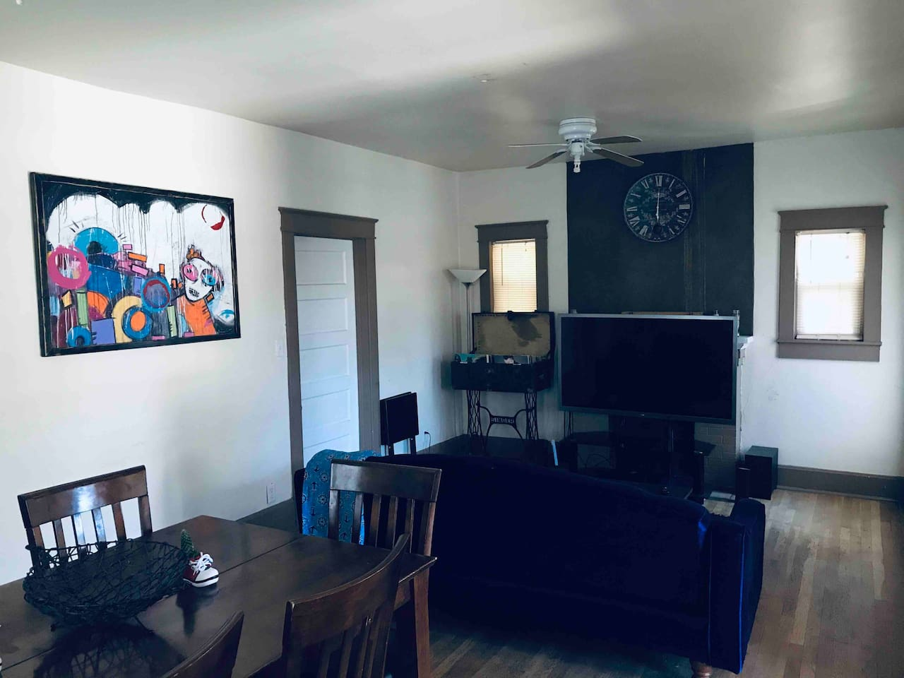 """Living area with 60""""  TV"""