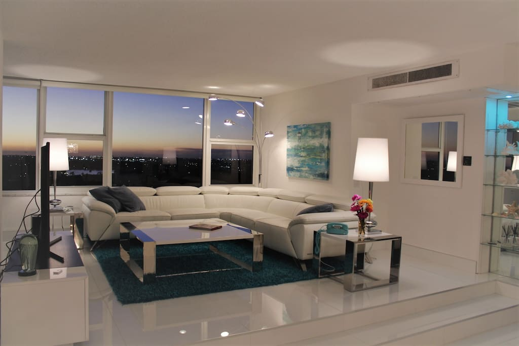 Intracoastal and city views from contemporary living room