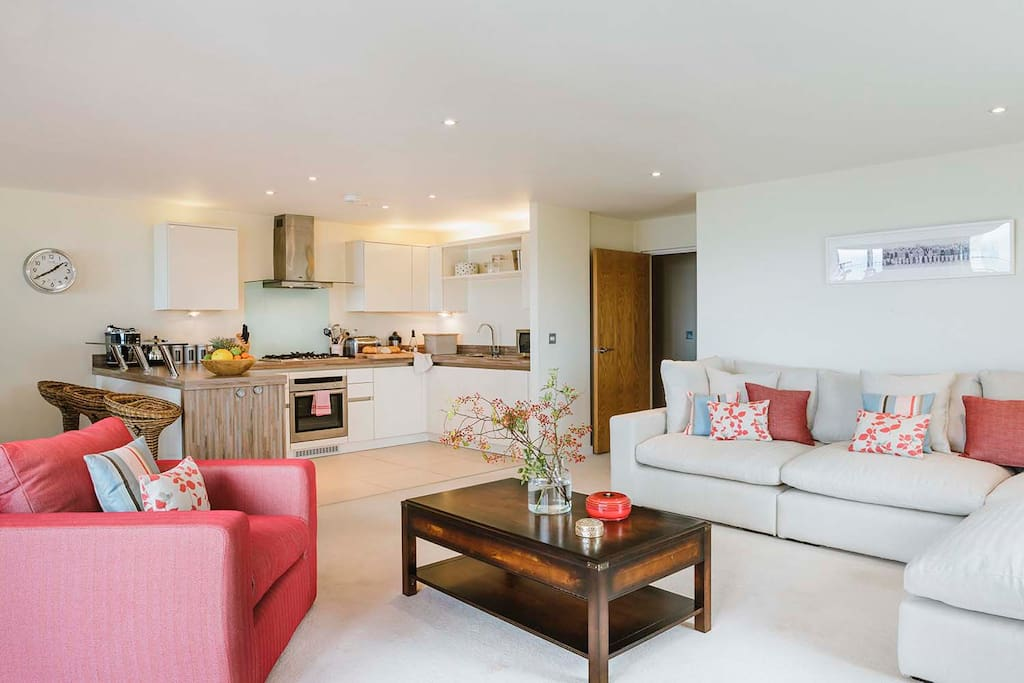 Large airy open plan kitchen, living and dining area with lots of space for the whole family