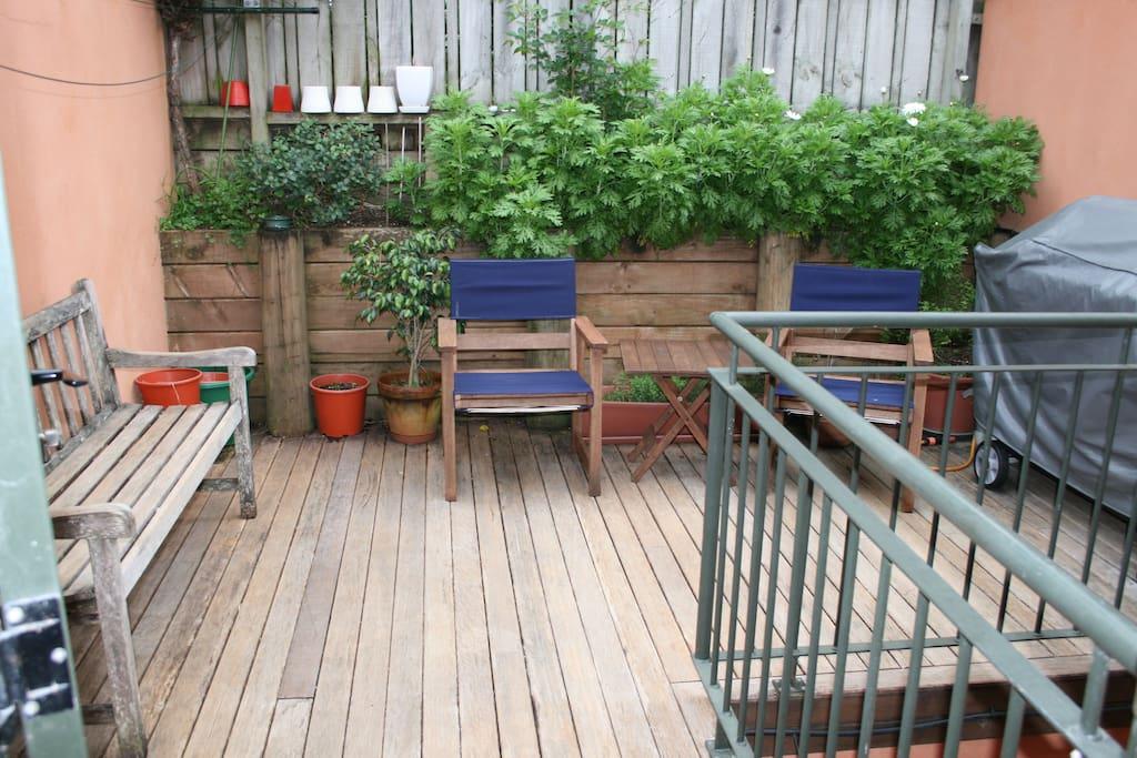 Outside balcony and garden
