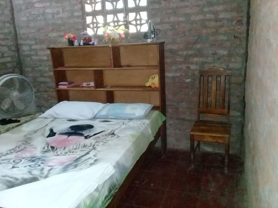 Habitación solo con una cama matrimonial.