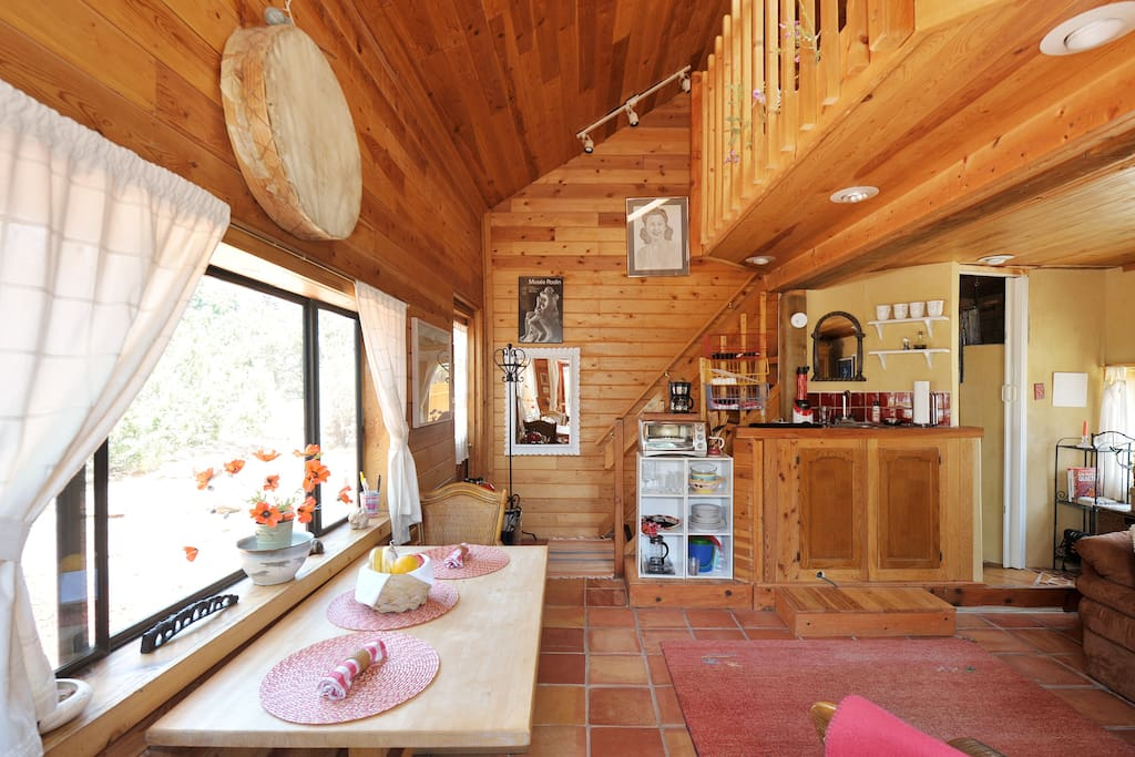 Eating and living area with great views.