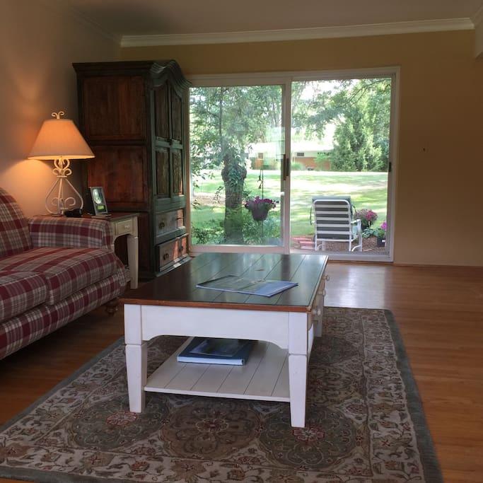 View of living room looking toward backyard