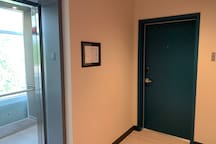 This is the view from the 3rd floor hallway just outside the elevator and just in front of your unit 306.