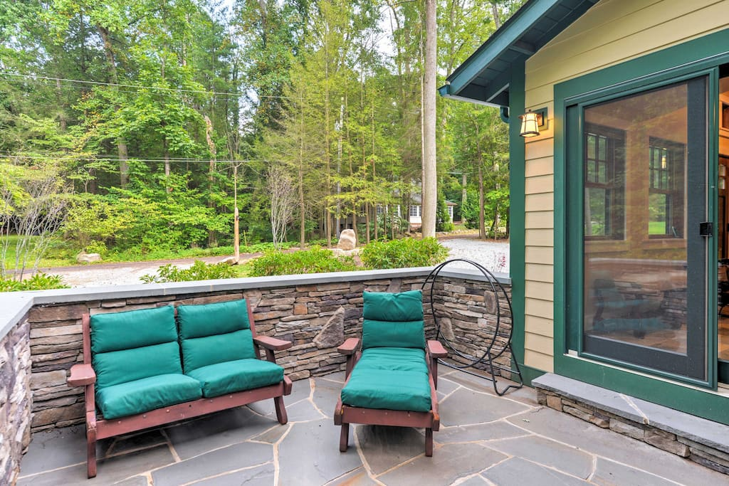 Relax on the heated stone patio and enjoy the serene and private environment.