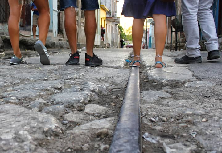 Walking on the old rails of the town