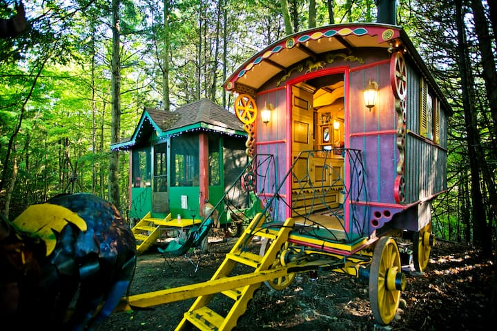 An Authentic Romani Caravan in Swaying Cedars