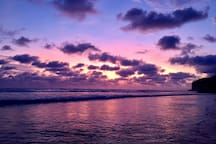 Purple sunset at our beach with the Indian Ocean