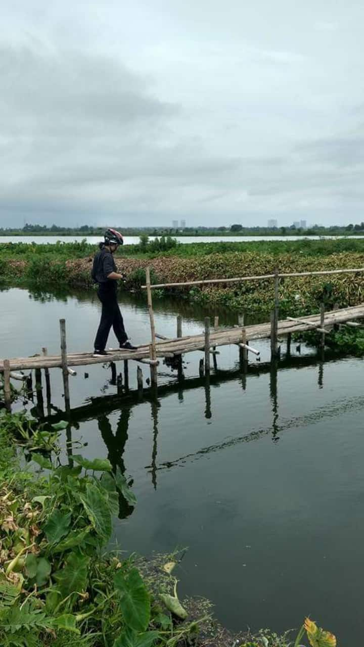 One of the bamboo bridge to cross canals