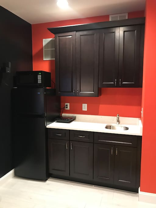 Kitchenette with fridge, microwave and cooktop.