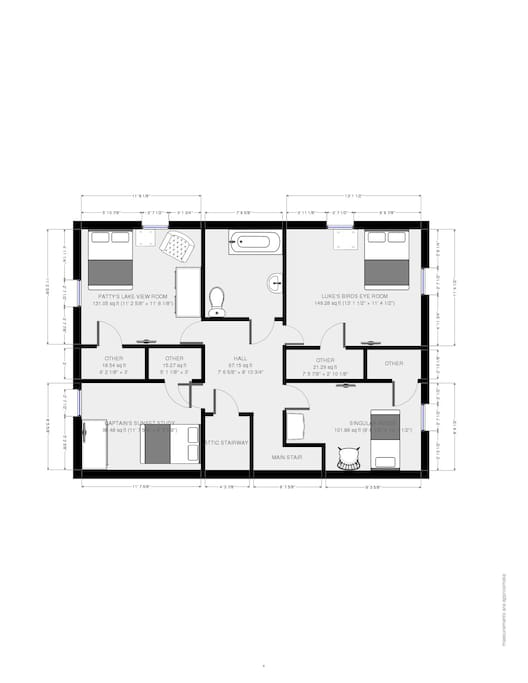 layout of the bedrooms and bathroom upstairs