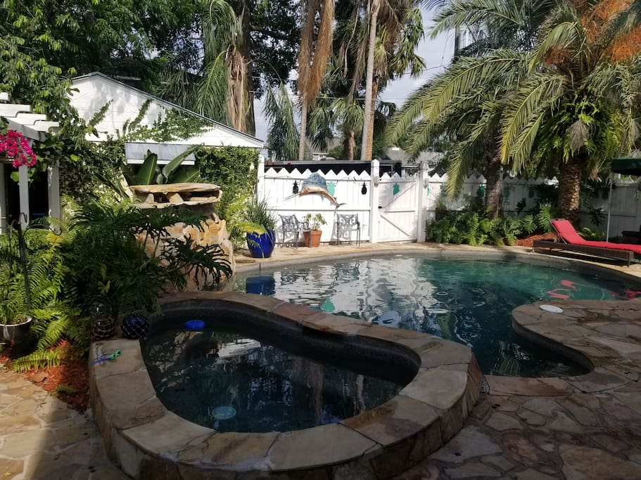 pool area with gas grill