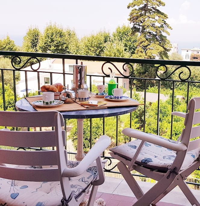 The balcony where you Can have  a good breakfast enjoying the bay of Naples