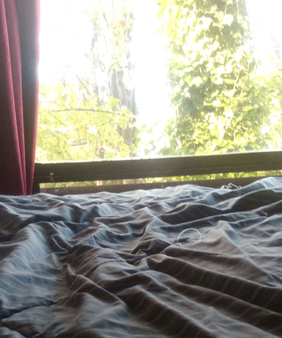 High-end full mattress in loft bed with view of forest and Portage Bay. You can watch the marina twinkle at night. Better photo coming!