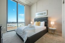 "Second bedroom features stunning views, a queen size bed and a 32"" Smart TV."