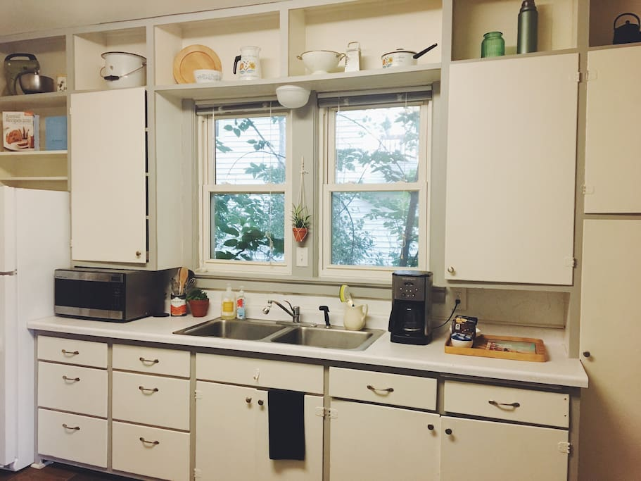 Large kitchen with lots of storage. Stocked with all you'd need to prepare meals during your stay.