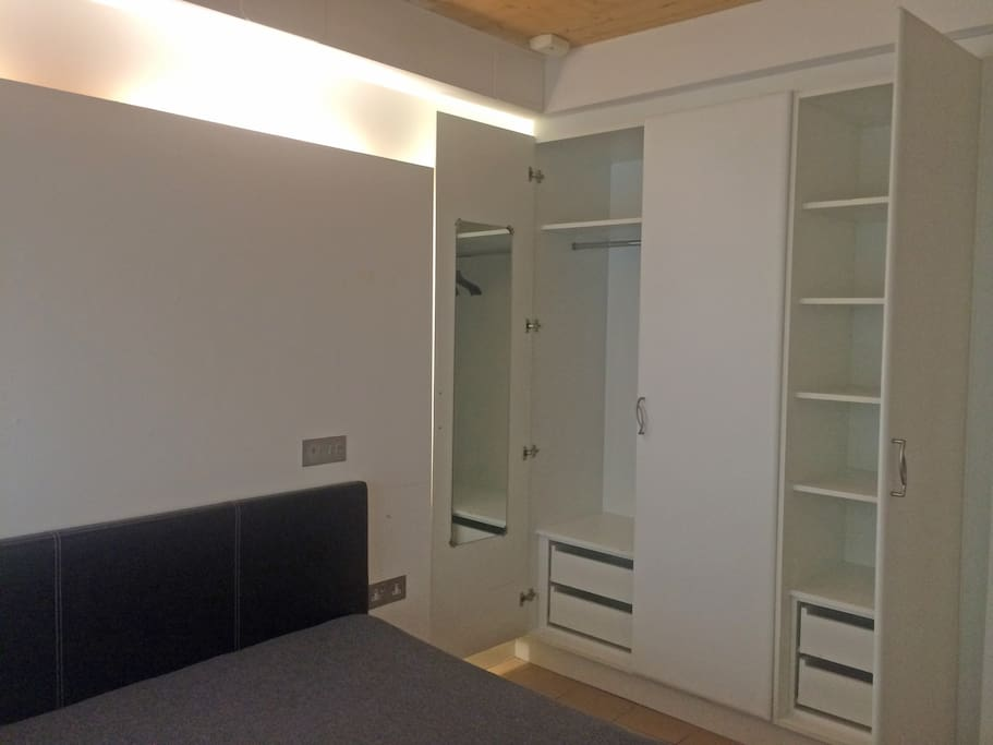 The wardrobe in the room
