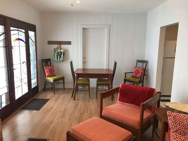 Dining table for meals, games, and/or work. WiFi available.