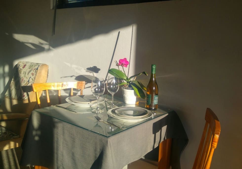 Dinner for two with a glass of wine