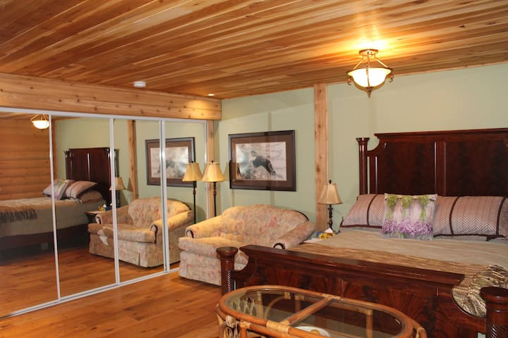 Your suite, double walled, quiet and cozy, not meaning small, cabin like.