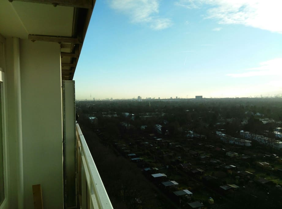 Balcony view, looking East, many of Hamburg's landmarks are visible on a clear day.
