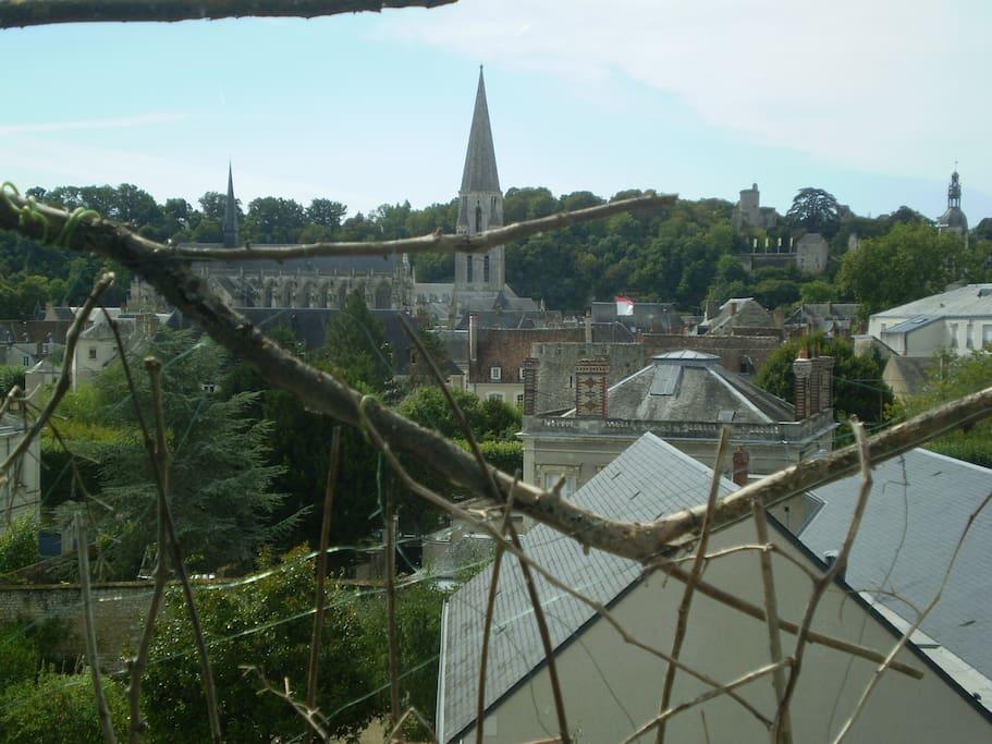 vue sur abbaye et château