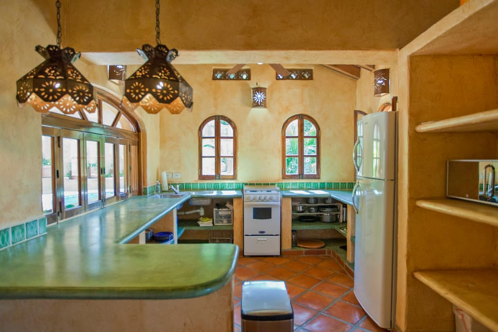 Full Kitchen with indoor/outdoor counter for serving...